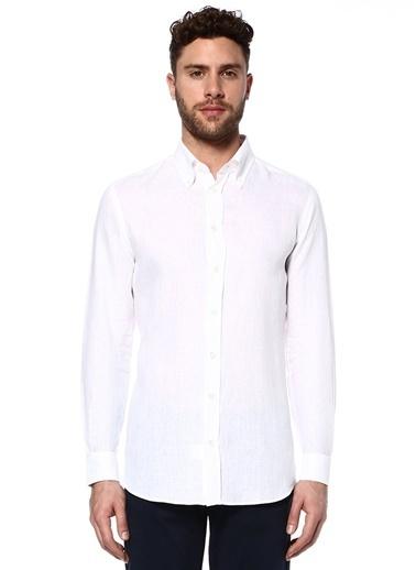 %100 Keten Uzun Kollu Gömlek-Luciano Barbera